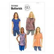 Butterick Ladies Easy Sewing Pattern 5988 Pretty Tops