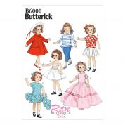 Butterick Easy Sewing Pattern 6000 Doll Clothes Retro Wardrobe