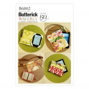 Butterick Easy Sewing Pattern 6002 Zipper Case, Belly Bag & Electronic Device Cases