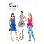 Butterick Ladies Easy Sewing Pattern 6025 Top, Tunic & Dress