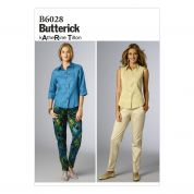 Butterick Ladies Easy Sewing Pattern 6028 Semi Fitted Tapered Pants
