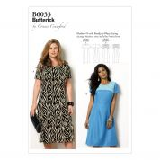 Butterick Ladies Plus Size Easy Sewing Pattern 6033 Fitted Dresses with Yoke