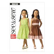 Butterick See & Sew Childrens Easy Sewing Pattern 6038 Dresses & Belt