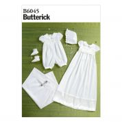 Butterick Baby Sewing Pattern 6045 Romper, Dress, Sash, Hat, Booties & Blanket for Christening
