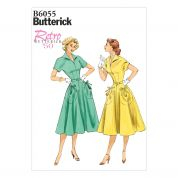 Butterick Ladies Easy Sewing Pattern 6055 Vintage Style Dress & Belt