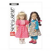 Butterick See & Sew Easy Sewing Pattern 6082 Doll Clothes Dress, Top & Leggings