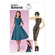 Butterick Ladies Easy Sewing Pattern 6094 Vintage Style Dresses with Back Detail