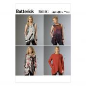 Butterick Ladies Sewing Pattern 6101 Asymmetric Pullover Tunic Tops