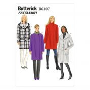 Butterick Ladies Easy Sewing Pattern 6107 Loose Fit Coats with Collar