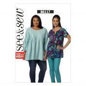 Butterick See & Sew Ladies Easy Sewing Pattern 6117 Loose Fit Tops with Front Tucks