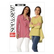 Butterick See & Sew Ladies Easy Sewing Pattern 6118 Jersey Knit Tunic Tops