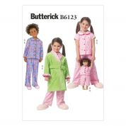 Butterick Girls & Dolls Easy Sewing Pattern 6123 Pyjamas & Dressing Gown