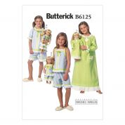 Butterick Girls & Dolls Easy Sewing Pattern 6125 Pyjamas & Nightie