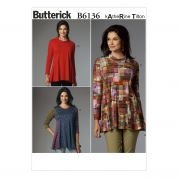 Butterick Ladies Easy Sewing Pattern 6136 Fit & Flare Tunic Tops