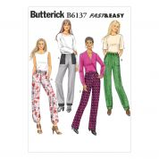 Butterick Ladies Easy Sewing Pattern 6137 Semi-Fitted Casual Pants