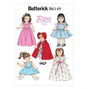 Butterick Easy Sewing Pattern 6149 Retro Doll Clothes Dresses & Cape