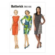 Butterick Ladies Easy Sewing Pattern 6166 Front Overlay Asymmetric Dresses