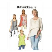 Butterick Ladies Easy Sewing Pattern 6172 Layered & Asymmetric Tops & Tunics