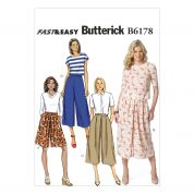Butterick Ladies Easy Sewing Pattern 6178 Culottes in 4 Styles