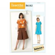 Butterick Ladies Easy Sewing Pattern 6182 Loose Fit Top, Dress & Skirt