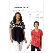 Butterick Ladies Plus Size Easy Sewing Pattern 6187 Shaped Hemline Tops