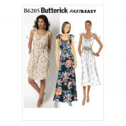 Butterick Ladies Easy Sewing Pattern 6205 Shoulder Tie Dresses