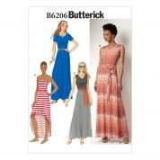 Butterick Ladies Easy Sewing Pattern 6206 Maxi Dresses & Belt