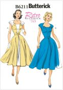 Butterick Ladies Sewing Pattern 6211 Vintage Style Dresses & Belt