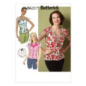 Butterick Ladies Easy Sewing Pattern 6217 Vintage Style Blouse Tops