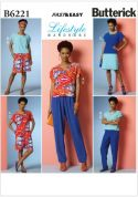 Butterick Ladies Easy Sewing Pattern 6221 Top, Dress, Shorts & Pants
