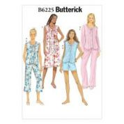 Butterick Ladies Easy Sewing Pattern 6225 Pyjama Top, Gown, Shorts & Pants