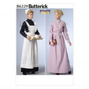 Butterick Ladies Sewing Pattern 6229 Historical Dress, Apron & Headpiece Costume