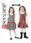 Butterick See & Sew Girls Easy Sewing Pattern 6230 Pinafore Dresses
