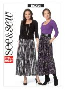 Butterick See & Sew Ladies Easy Sewing Pattern 6234 Elastic Waist Lined Skirts