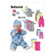Butterick Baby Easy Sewing Pattern 6238 Jacket, Overalls, Pants, Bunting & Hat