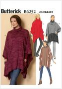 Butterick Ladies Easy Sewing Pattern 6252 Ponchos in 4 Styles
