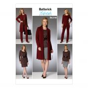 Butterick Ladies Easy Sewing Pattern 6258 Cardigan, Top, Belt, Dress, Skirt & Pants