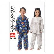 Butterick See & Sew Childrens Easy Sewing Pattern 6268 Pyjama Top & Pants