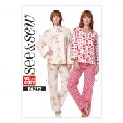 Butterick See & Sew Ladies Easy Sewing Pattern 6273 Pyjama Jacket Top & Pants