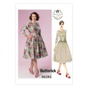 Butterick Ladies Sewing Pattern 6284 Vintage Style Dress with Fitted Bodice