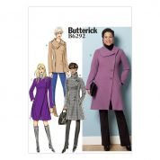 Butterick Ladies Sewing Pattern 6292 Asymmetric Closing Lined Coats