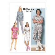 Butterick Ladies Easy Sewing Pattern 6297 Pyjama Tops, Shorts, Pants, Dress & Lounge Socks