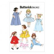 Butterick Crafts Easy Sewing Pattern 6302 Retro Vintage Style Doll Clothes