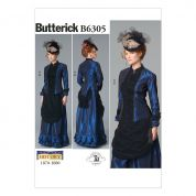 Butterick Ladies Sewing Pattern 6305 Victorian Top & Front Drape Skirt Costume
