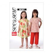 Butterick See & Sew Girls Easy Sewing Pattern 6307 Tucked Top, Dress & Pants
