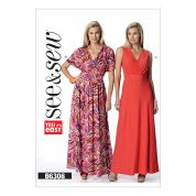 Butterick See & Sew Ladies Easy Sewing Pattern 6308 Surplice Maxi Dresses