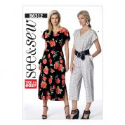 Butterick See & Sew Ladies Easy Sewing Pattern 6312 V Neck Dress & Jumpsuit