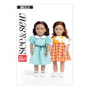 Butterick See & Sew Crafts Easy Sewing Pattern 6313 Pleated Dresses & Short Sleeve Top Doll Clothes