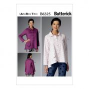 Butterick Ladies Easy Sewing Pattern 6325 Pleated Collar Asymmetrical Hem Shirts