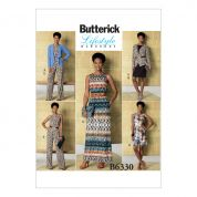 Butterick Ladies Easy Sewing Pattern 6330 Jacket, Elastic Waist Dress, Romper & Jumpsuit